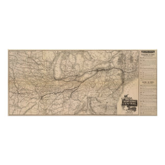 Map New York Central and Hudson River Railroad Poster