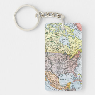 MAP: NORTH AMERICA, 1890 Double-Sided RECTANGULAR ACRYLIC KEYCHAIN