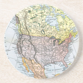 MAP: NORTH AMERICA, 1890 DRINK COASTERS