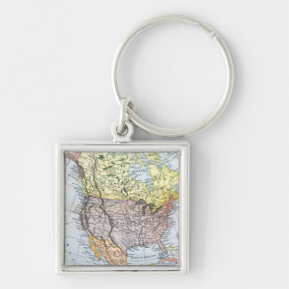 MAP: NORTH AMERICA, 1890 Silver-Colored SQUARE KEYCHAIN