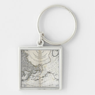 MAP: NORTH PACIFIC Silver-Colored SQUARE KEYCHAIN