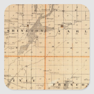 Map of Adams County, State of Iowa Square Sticker