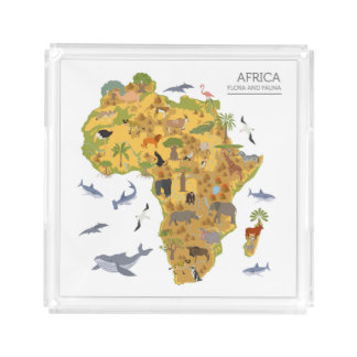 Map of Africa   Flora & Fauna Acrylic Tray