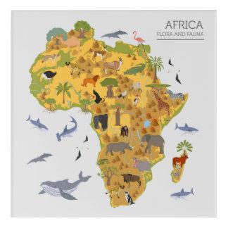 Map of Africa   Flora & Fauna Acrylic Wall Art