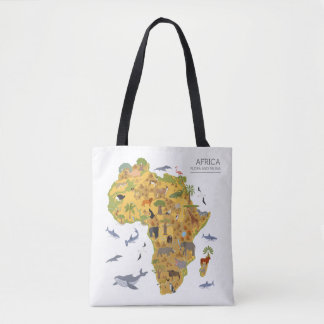 Map of Africa | Flora & Fauna Tote Bag