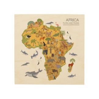 Map of Africa | Flora & Fauna Wood Print