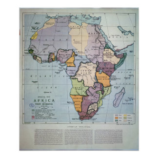 Map of Africa showing Treaty Boundaries, 1891 Poster