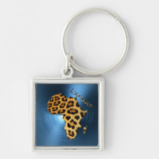 Map of AFRICA Steel-Blue Leopard Fur Series Keychain