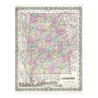 Map of Alabama Postcard