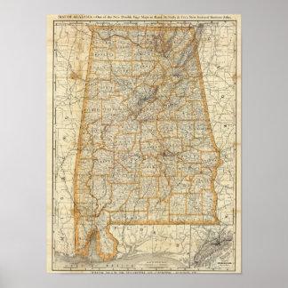 Map of Alabama Poster