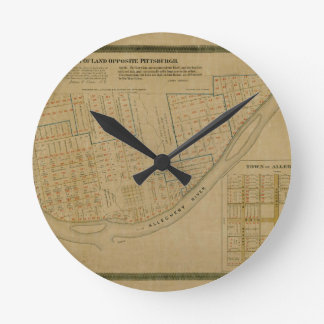 Map Of Allegheny 1863 Round Clock