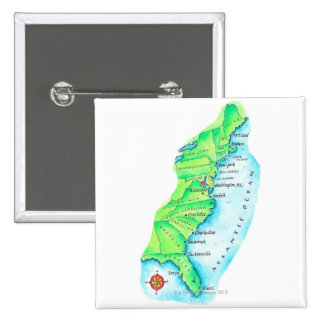 Map of American East Coast 2 Inch Square Button