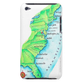 Map of American East Coast Barely There iPod Covers