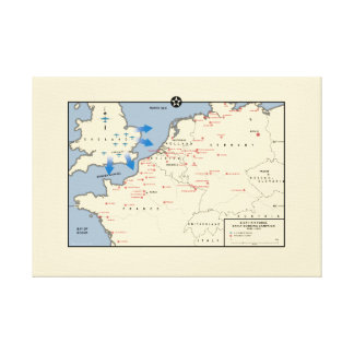 "Map of American ""Mighty Eighth"" Bomber Campaign Canvas Print"