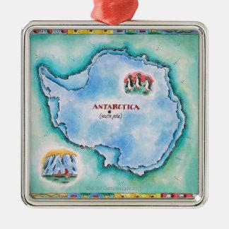 Map of Antarctica Metal Ornament