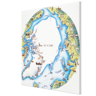 Map of Arctic Canvas Print