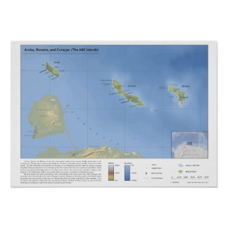 Map of Aruba, Bonaire, and Curaçao 1:500,000 Poster