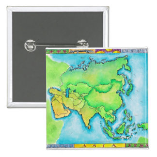 Map of Asia 2 Inch Square Button