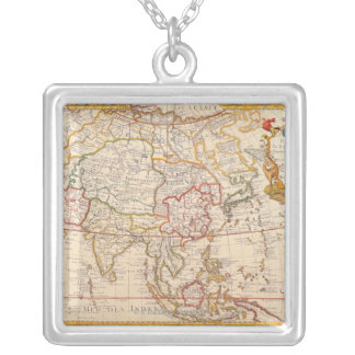 Map of Asia 5 Square Pendant Necklace