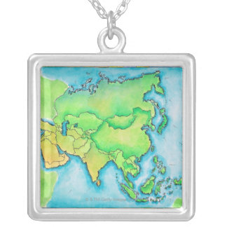 Map of Asia Necklaces