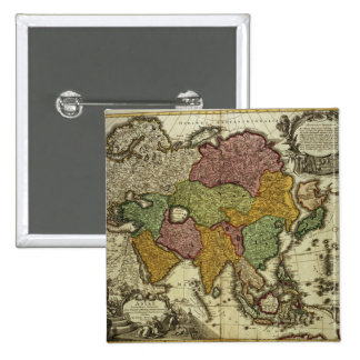 Map of Asia, Nuremberg, c.1730 2 Inch Square Button