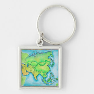 Map of Asia Silver-Colored Square Keychain
