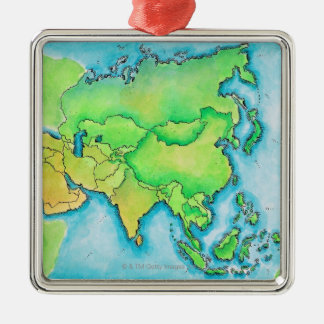 Map of Asia Silver-Colored Square Ornament