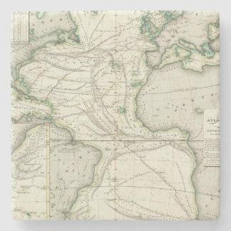 Map of Atlantic Ocean Stone Coaster