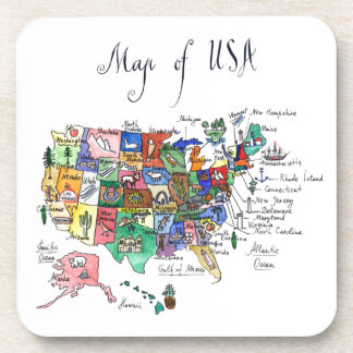 Map of Attractions of United States of America Beverage Coaster