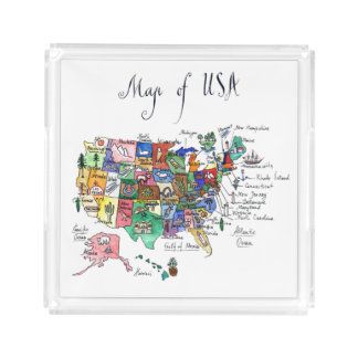Map of Attractions of United States of America Serving Tray