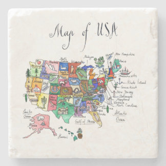 Map of Attractions of United States of America Stone Beverage Coaster