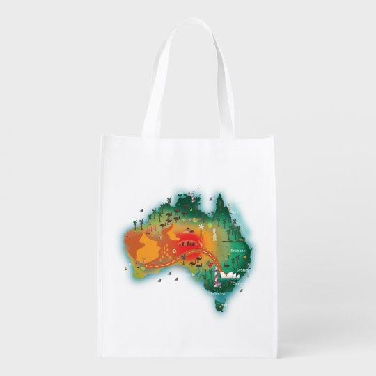 Map Of Australia Reusable Grocery Bag