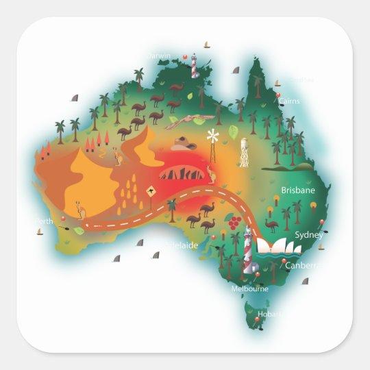 Map Of Australia Square Sticker