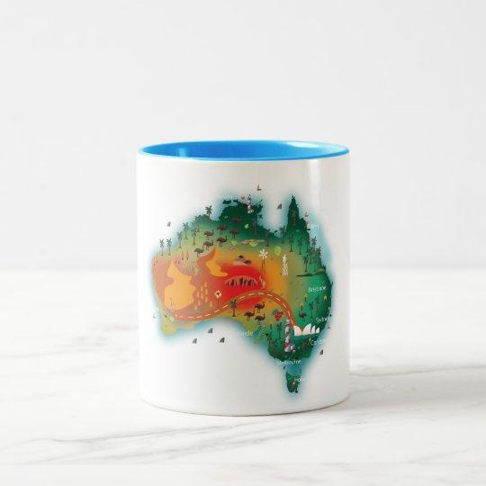 Map Of Australia Two-Tone Coffee Mug