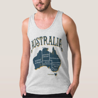 Map of Australia with State Names Tank Top