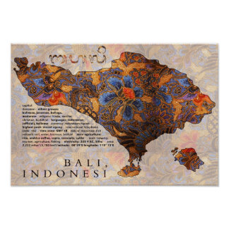 Map Of Bali  Traditional Batik Poster