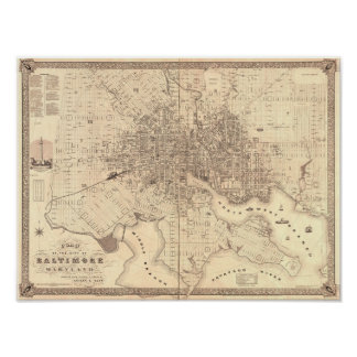 Map of Baltimore 1851 Poster