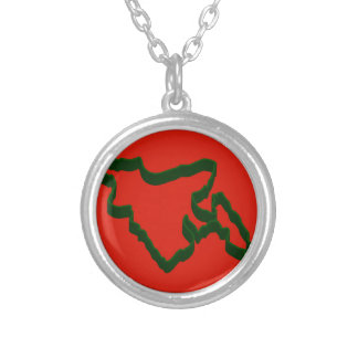 Map of Bangladesh Silver Plated Necklace