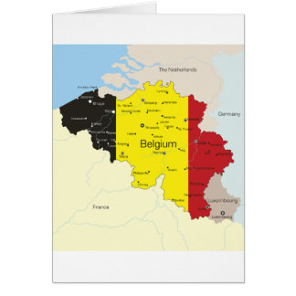 Map Of Belgium Greeting Cards