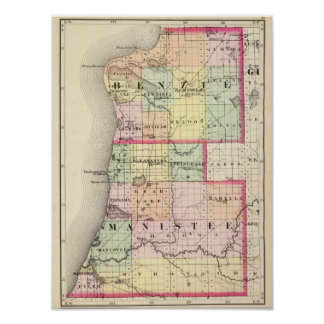 Map of Benzie and Manistee counties, Michigan Poster
