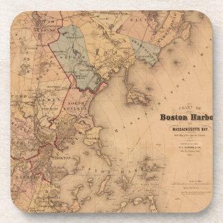 Map Of Boston 1861 Coaster