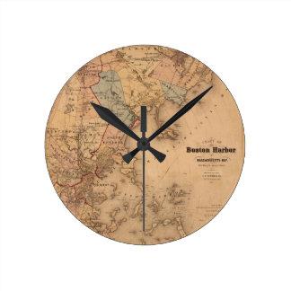 Map Of Boston 1861 Round Clock
