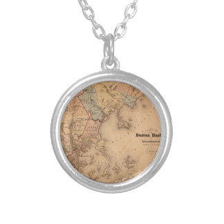 Map Of Boston 1861 Silver Plated Necklace
