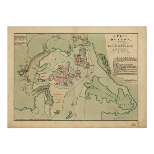 Map of Boston, Drawn by the British Army, 1776 Poster