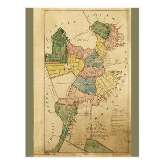 Map of Boston Massachusetts (1805) Postcard