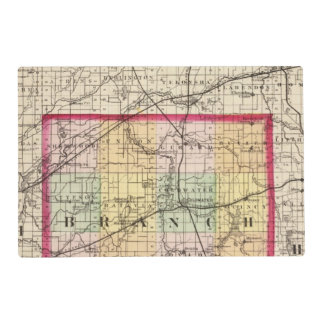 Map of Branch County, Michigan Laminated Place Mat