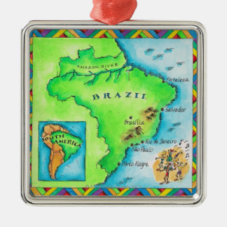 Map of Brazil Silver-Colored Square Ornament