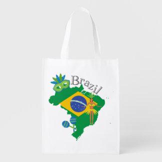 Map of Brazil With Brazillian Flag Reusable Grocery Bag