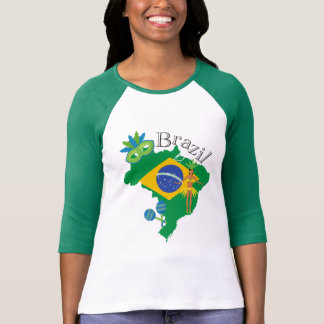 Map of Brazil With Brazillian Flag T-Shirt