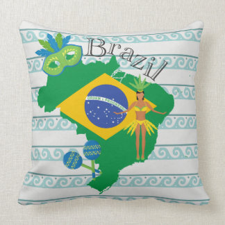 Map of Brazil With Brazillian Flag Throw Pillow